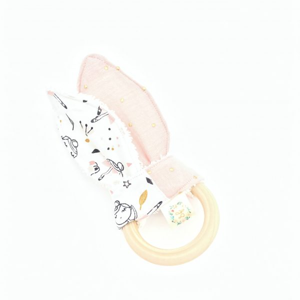 ballerina pink double gauze golden dots teether baby teething