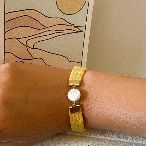 Upcycled Bracelet Gold Plated Brass mustard