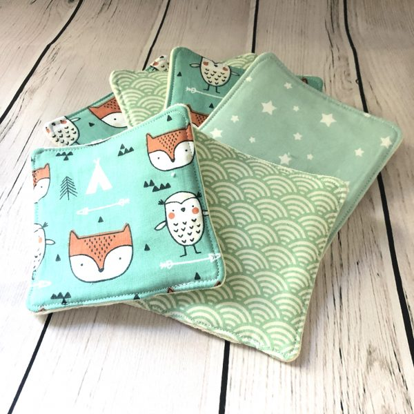 wipes reusable zero waste fox fabric aqua baby cleaning