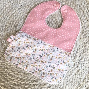 pink bows and flowers baby girl bib