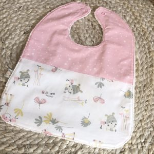 pink stars hippo baby girl bib