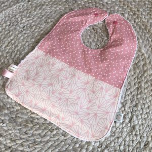 pink bows geometric baby girl bib