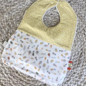 pineapple and yellow bows baby bib