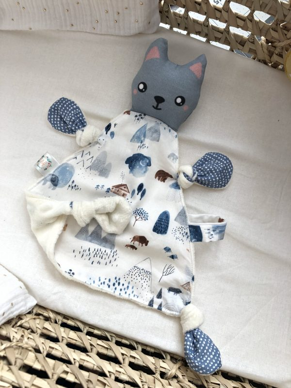 baby comforter toy cat grey trianglecuddles