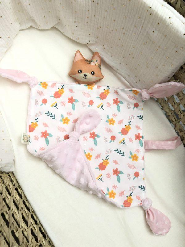 baby comforter toy fox flowers cuddles