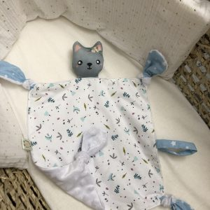 baby comforter toy grey cat cuddles