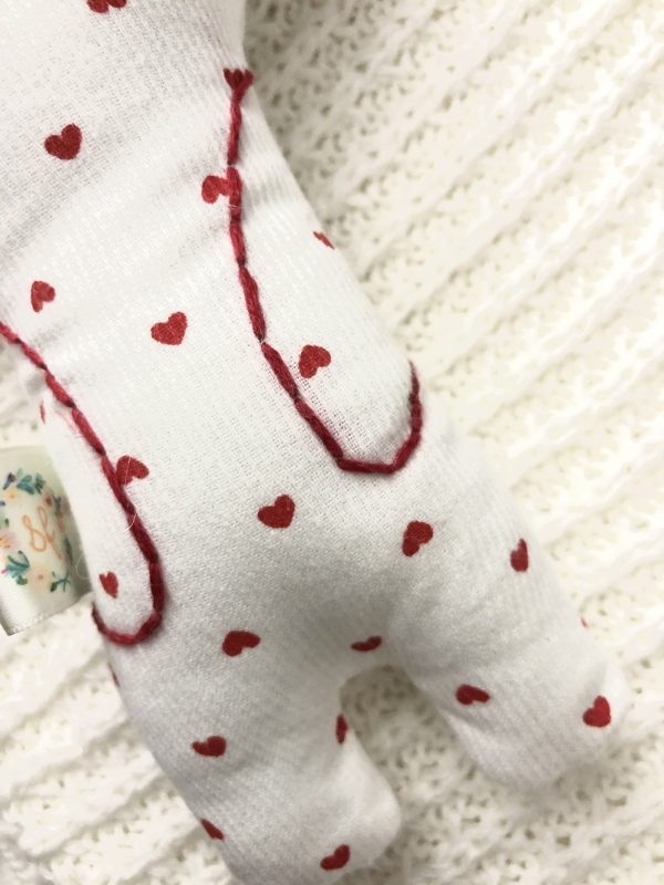 bunny plush rattle valentines day embroidery